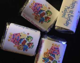 60 shopkins shopkin Theme Birthday Party Hershey Mini Nugget Labels candy wrappers