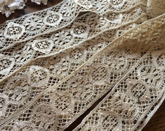 Vintage Bobbin Lace/Chemical Trim Insertion Lace~Ecru Light Taupe~4 Yards x 1.75 Inches~Antique Notions~Ribbon~Victorian Edwardian