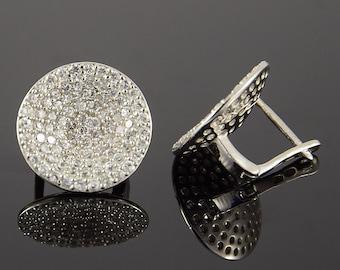 Round earrings, Sparkly earrings, CZ earrings, Silver earrings, Silver cz earrings, Women earrings, Unique earrings, Geometric earrings