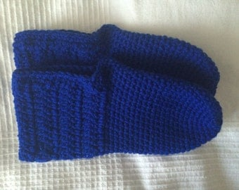 Handmade Cozy Croche Blue Slippers