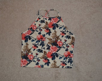 Cream Floral Halter Cross Strap Crop Tank Top