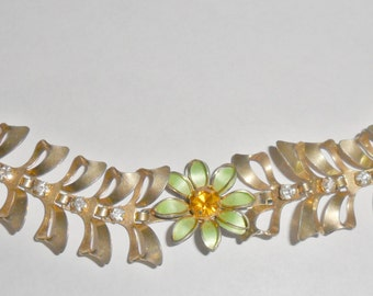 Beautiful unusual vintage goldtone pale green enameled flower link bracelet with orange and clear rhinestones