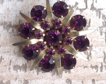 Old Antique 1940's Gold-Tone and Faux Amethyst Starburst Brooch C35