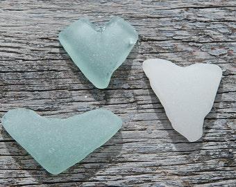 Sea glass heart Genuine seaglass Heart art Nautical jewelry Keepsake Romantic gift Bulk seaglass Heart shaped glass Heart seaglass / 3 pcs