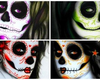 Set of 4 Art Prints - Sugar Skull Art