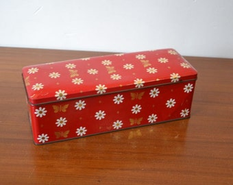Gingerbread tin, ARK - red with flowers and butterflies