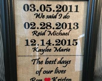 Family Dates Frame, Anniversary Date, Children birthdays, 8x10 frame, Anniversary gift, Mom gifts, birthday gift for wife, Christmas gift