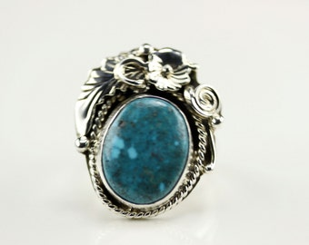 Native American Indian Jewelry Sterling Silver Turquoise Ring Size 6.5