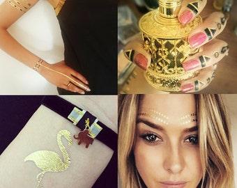 4 Sheets of Black & Gold Temporary Tattoo Metallic Jewellery Tattoo Festival Flash Tattoo
