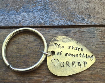 The Start of Something Great - Heart - Antique Distressed Brass Guitar Pick Hand Stamped Personalized Keychain Keyring