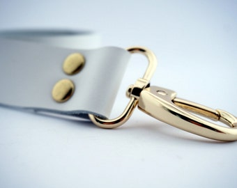 3 cm/ 1.18 inches WhiteLeather Strap / Leather Handle with hooks, leather purse straps, anses cuir, knitting, sewing, bag part