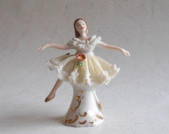 vintage porcelain lace lady figurine crown N Dresden Germany