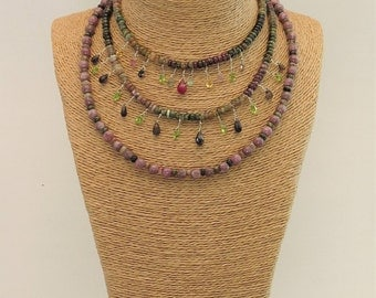 Tourmaline gemstones and silver necklace massif