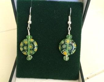 Handmade Green Seaglass Earrings