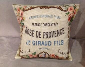Vintage French/ Parisien perfume bottle label cushion/pillow size 16' X 16''