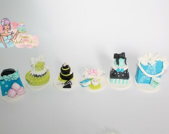 6x Ladies Very Detailed Pairs Cake Birthday Edible Fondant Cupcake Toppers
