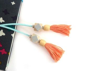 Peach/Silver/Light Blue Tassel Bookmark