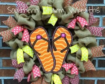 "18"" Natural Burlap Flip Flops Summer Wreath"