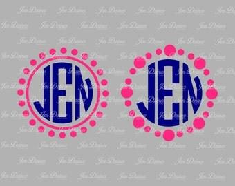 Dot Circle Monogram Frame SVG DXF eps , Monogram Design, Monogram SVG File, svg file for Cricut Silhouette svg cut file Frame svg monogram