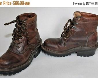 SALE J Crew Brown Leather Hiking Boots Grunge 90s Sz 5B Distress Worn