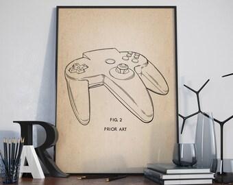 Game Controler Patent Print, Nintendo 64 Patent, Computer Poster, Electonic Game, Patent Print, Gamer Decor, Game Room Decor - DA0153