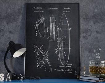 Surfboard Patent Poster, Surf Art, Surfer, Beach House Decor, Surfboard Patent, Office Wall Decor - DA0255