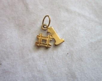 Vintage Gold Tone # 1 Charm Bracelet Charm