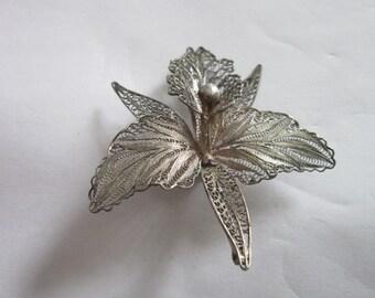 Gorgeous Antique Filigree Large Flower Sterling Silver Brooch