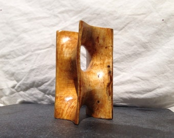Scherk tower - minimal surface - sculpture in reclaimed firewood heavily spalted beech