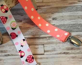 Baby girl 2 pc pacifier clip set/ pacifier clip/ ladybugs/ polka dots