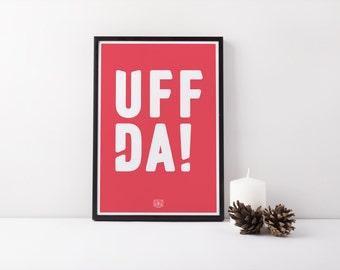 "11x17 ""Uffda!"" Nordic Risograph Poster (Limited Edition), red and white, Norwegian Scandinavian folk art print"