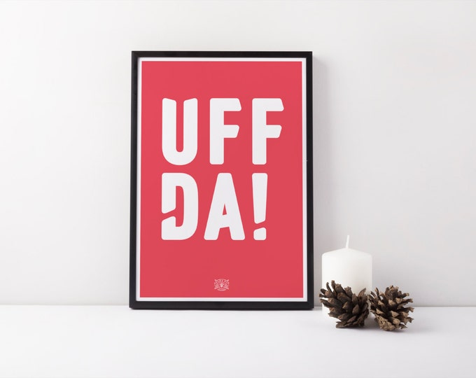 "11x17 ""Uffda!"" Nordic Risograph Poster (Limited Edition), red and white, Norwegian Scandinavian folk art print"