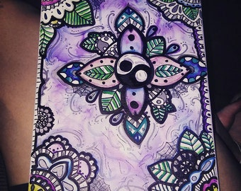 zen doodle yin yang henna watercolor ink sharpie stretched canvas