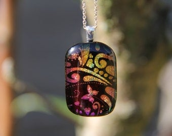 Butterfly dichroic glass  pendant, dichroic glass necklace, pink fused necklace, dichroic jewelry, butterfly dichroic pendant, fused glass