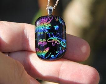 Flower dichroic glass  pendant, dichroic glass necklace, flower fused necklace, dichroic jewelry, flower dichroic pendant, fused glass