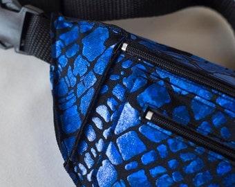 Blue Shattered Glass Animal Print Fanny Pack Bum Bag Festival Burning Man