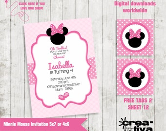 Minnie Mouse Invitation Printable Kids Party Personalized Invite, Free Tag