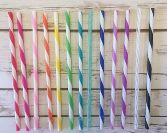 """25 9"""" BPA Free Acrylic Reusable Straws for Tumblers, Cups, or Water Bottles"""