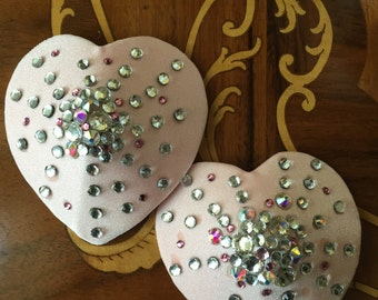 Pink and Clear AB Heart crystal pasties