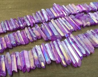Mystic Lavender Quartz Points Aura Purple Crystal Point Beads Graduated Top Drilled Raw Quartz Crystal Stick Beads Bulk 7-11*15-45mm