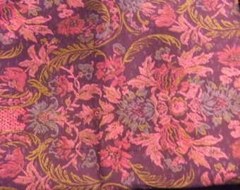Red Violet Print Cotton Fabric, 3 Yards, for Costuming or Quilting