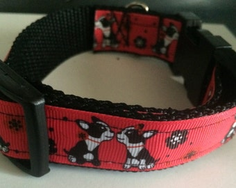 Handmade Boston Terrier nylon dog collar.