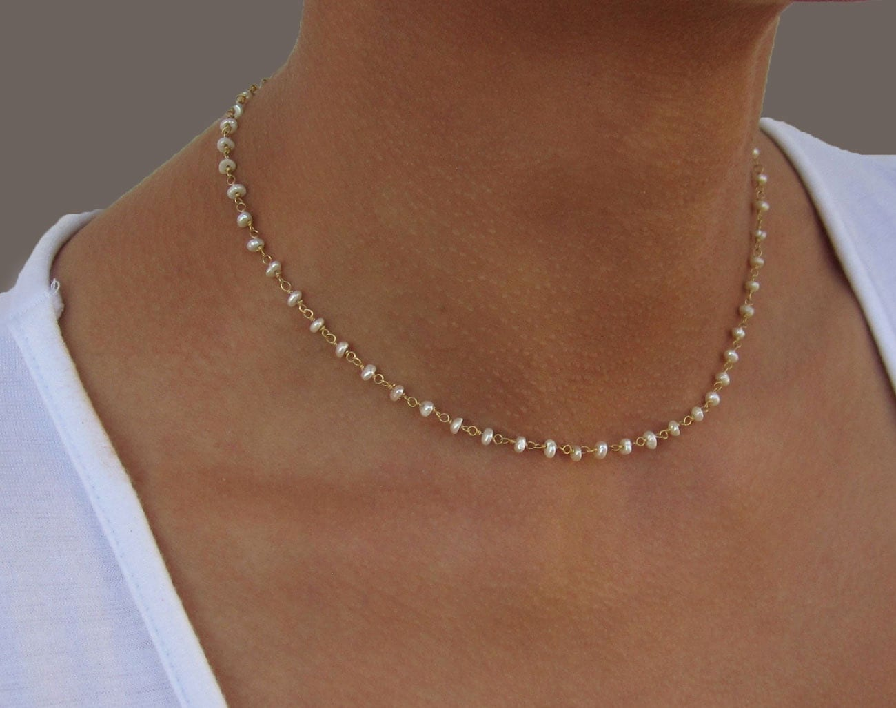 delicate pearl necklace gold necklace dainty bridesmaid