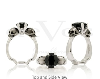 Skull Engagement Ring - Till Death, Black Sapphire Skull Solitare