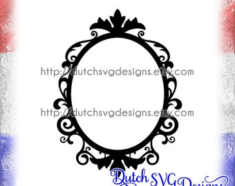 Oval frame cutting file with decorated border, in Jpg Png Studio3 SVG EPS DXF, cricut svg, silhouette cut file, oval monogram svg, frame svg
