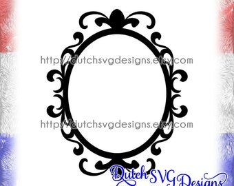 Oval frame cutting file with decorated border, in Jpg Png SVG EPS DXF for Cricut & Silhouette, clipart, swirl swirls swirly curl curls curly