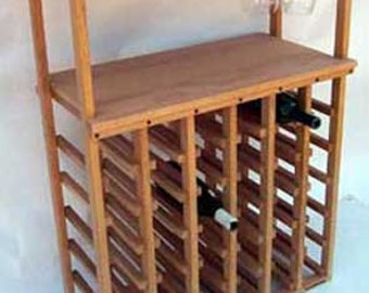 36 Bottle Wine Rack with Stemware Rack and Tabletop