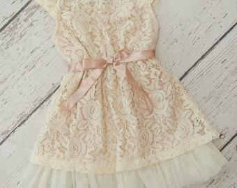 Cream Lace Tutu Dress