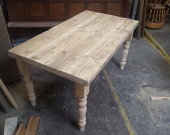 Farmhouse dining table with reclaimed wood top, made to measure custom finish, restaurant shabby chic farrow ball painted 6 8 seater