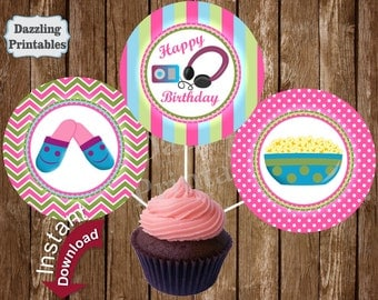 Slumber Party Cupcake Toppers Printable Circles Party Decorations Cake Decor Instant Download Sleepover Girl Sleep over CTSO1